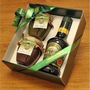 Coffret huile d'olive extra vierge 25 cl / Pesto 180 g / Crème d'olives taggiasche 180 g Sant'Agata