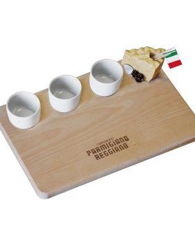 Planche pour le parmesan et coupelles en faïence