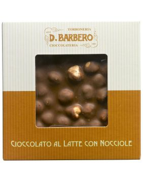 Tablette de chocolat au lait aux noisettes entières Barbero