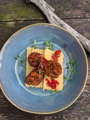 Polenta et salame au peperoncino